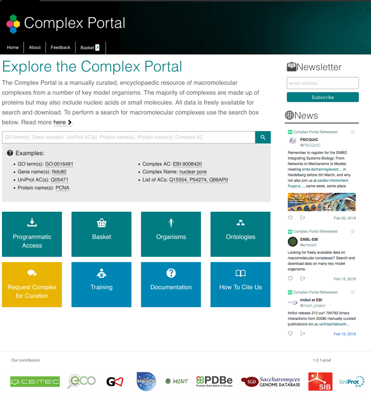 EBI Complex Portal homepage with search box and entry tiles to other pages