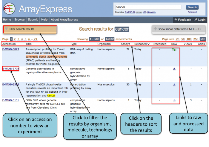 Viewing search results in ArrayExpress