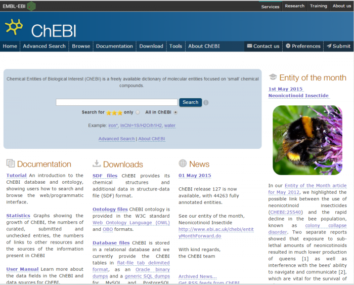 The ChEBI homepage