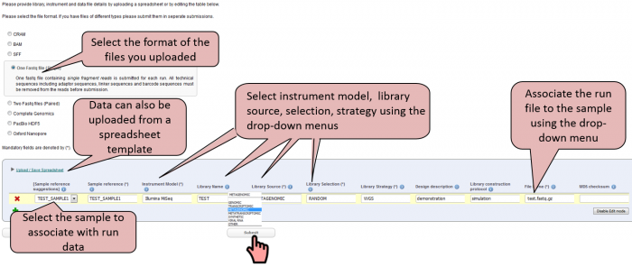 Linking sample metadata to sequencing run data using the ENA Webin tool