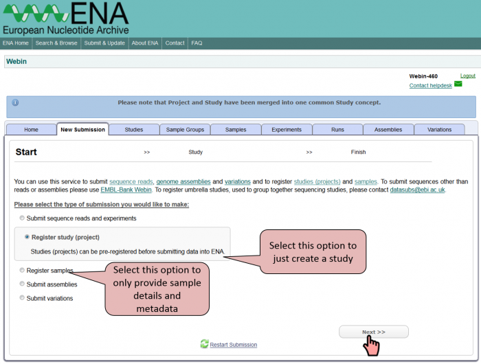 Webin option to create a study or provide sample information only