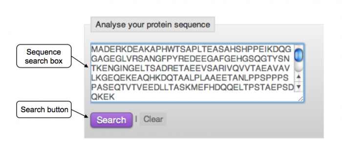 InterPro sequence search box