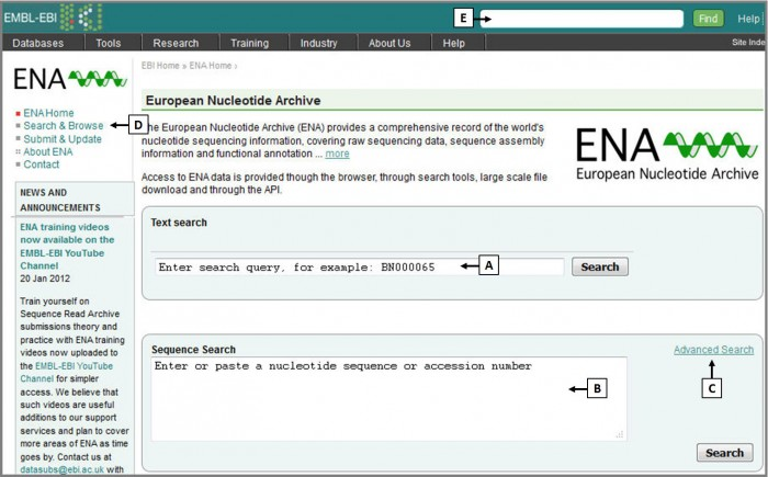 You can search ENA using text or sequence